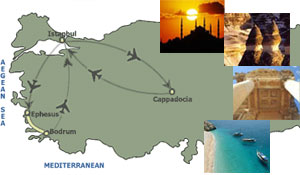 luxury turkey tour package route on the map