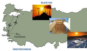 istanbul ephesus package map route
